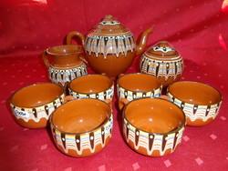 Bolgár mázas  kerámia, hat személyes teáskészlet.