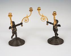 Aranyozott bronz angyalkás gyertyatartó párban
