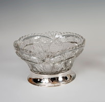 Ezüst talpú kristály asztalközép
