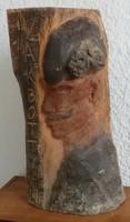 Nagy méretű Vak Bottyán fa szobor, jelzett