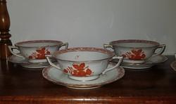 12 darabos Herendi Apponyi orange,utasellátó felirattal kétfülű leveses csésze és csésze alj készlet