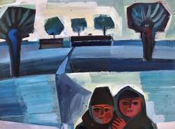 Józsa János Debrecen télen 1968 olaj festménye