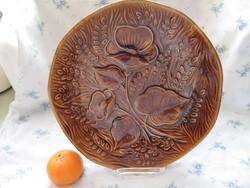 Nagy, gyűjtői, művészi ,31 cm-es Sarreguemines virágos tál