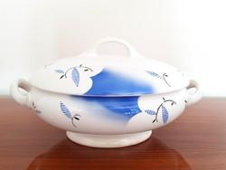 Régi Gránit nagy leveses tál kék fehér talpas fedeles vintage kínáló tál