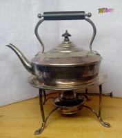 Spirituszkályhás Art Deco ezüstözött teáskanna, hiánytalan működőképes állapotban