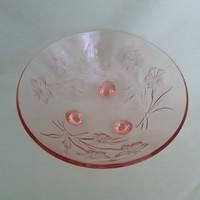 Rózsaszín, lazac színű, üveg tál