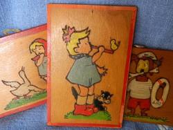 Retro gyermek figurális képek, préselt fa lemez, 3 db egyben