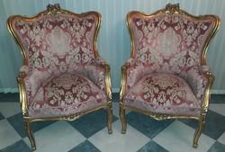 Faragott aranyozott neorokokó rokokó XV. Lajos fotel párban!