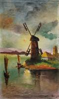 Aronson: Szélmalom a tengerparton - antik olaj-vászon festmény