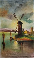 Aronson: windmill on the beach - antique oil on canvas painting