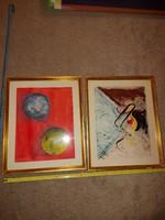 Komlós szignóval, két festmény, absztrakt