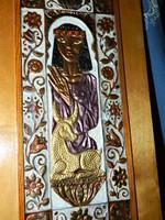 Réz dombornyomott festett kép, Kleopátra