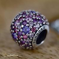 Pandora rózsaszín pavé charm, moments