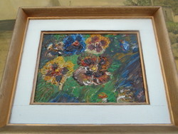 Csodálatos antik virág csendélet talán( Schéner Mihály) hátoldalán 1957  m 32 x 26 cm