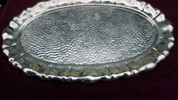 Antik Bieder Stílusú Trébelt Körben Hólyagos Díszítésű Tálca Imádott Használt Ródiumozott