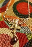 Szecessziós jellegű különleges színű gyöngyös ezüst collier/nyaklánc