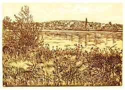 Lunczer Anikó (1942-): Dunapart, 1991 - színes linóleummetszet, 4/100