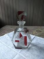 Csodaszép art deco lapra csiszolt üveg palack, cseh, Karel Palda