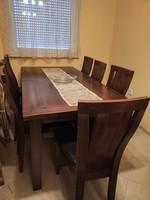 Tömörfa étkezőasztal 8 székkel