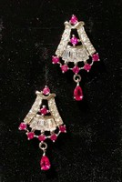 Valódi rubin alkalmi ezüst fülbevaló