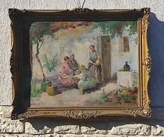 Gebhardt István festmény, Ács Ágoston stílusú életkép, laparanyozott blondel keretben.letisztított!