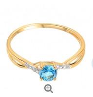Arany gyűrű topázzal és gyémántokkal 0,010