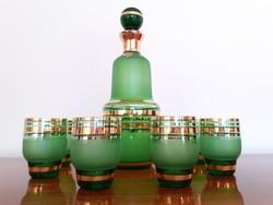 Retro cseh Bohemia zöld üveg italos készlet likőrös dugós üveg pohár 7 db