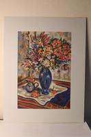 Zombori Tibor: Virágcsendélet, festmény, grafika