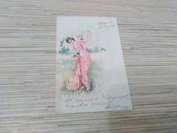 Antik hosszú címzésü Üdvözlő képeslap.(1900).