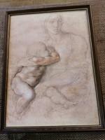 Michelangelo Madonna gyermekkel c. műve színes nyomaton. 48x35 cm kerettel együtt