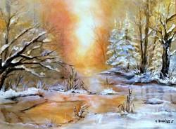 Téli ragyogás 30x40cm, festmény