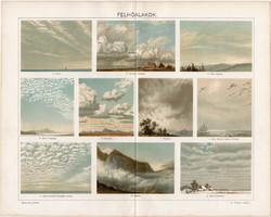 Felhőalakok, 1896, színes nyomat, litográfia, eredeti, régi, felhő, cumulus, nimbus, stratus, forma
