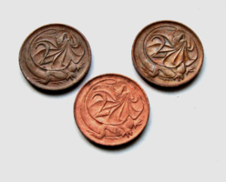 Ausztrália - 3 db - 2 cent - Galléros gyík - 1973 -1974 & 1976  - II. Erzsébet királynő