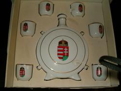 Hollóháza kulacs és 6 likőrös készlet nagyon szép magyar címeres italos készlet porcelán hollóházi