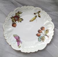 Antik kézzel festett pillangós desszertes tányér 19cm