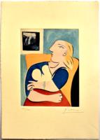 Picasso: Nő sárga székben - rézkarc - leárazáskor nincs felező ajánlat