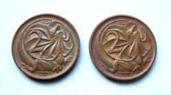 Ausztrália - 2 db - 2 cent - Galléros gyík - 1980  & 1981  - II. Erzsébet királynő