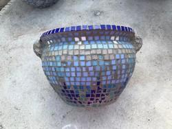 Kültéri egyedi üveg mozaikos kaspó 17 cm magas 25 cm átmérő