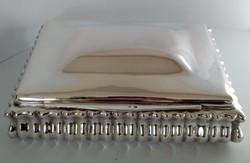 Ezüst nagyméretű kártyatartó doboz szivartartó doboz 1040 gramm