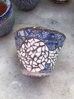 Kültéri egyedi mozaikos kaspó 17 cm magas 24 cm átmérő