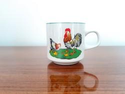 Retro porcelán csésze kakasos csibés húsvéti bögre