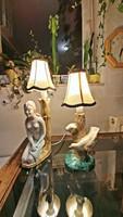 Régi, madaras és akt, mázas kerámia asztali lámpa, szerelvényezve , ernyővel, 2 lámpa együtt.