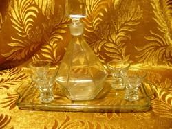 Lapra csiszolt art deco likőrös pálinkás készlet 4 pohárral tálcával