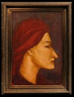 Vörös hajú nő - Extra kvalitásos olajfestmény a becsült 20-30-as évekből szignózva /nyugat-európai/