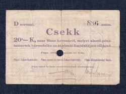 Magyarország Csekk 20 Koronáról 1919 Pápa szükségpénz D sorozat 1919 (id16638)