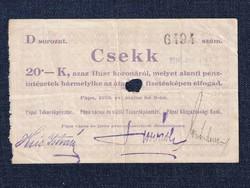 Magyarország Csekk 20 Koronáról 1919 Pápa szükségpénz D sorozat 1919 (id16639)