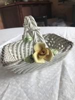 Romantikus gyümölcs tartó : Virágos porcelán kosár