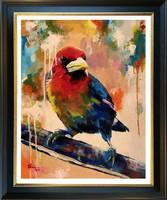 Színes dallam - akrilfestmény (madár)