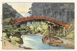 Régi japán fametszet tájkép fa híd patak part erdő természet folyó Kitűnő minőségű reprint nyomat