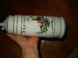 Nagyméretű Hollóháza díszes vadászos őzes ivókupa nagyon szép porcelán hollóházi sörös boros rigli